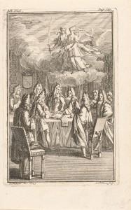 Allegorische voorstelling met de ondertekening van de Vrede van Utrecht in 1713, in de lucht de Vrede en de Overvloed. Ets door Anna Folkema. (Collectie Rijksmuseum Amsterdam